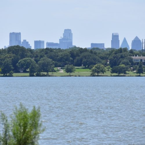 Dallas Skyline from Hiking Trail at White Rock Lake